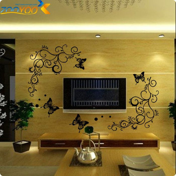Black flower vine butterfly wall stickers home decorations plant decals mural art