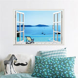 Blue sky sea hill landscape windows wall stickers room decor home decals cartoon mural cover art posters