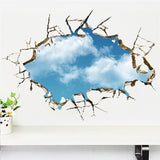 Blue sky white cloud landscape 3d windows wall stickers room decorations home decals print mural cover art posters 4.5