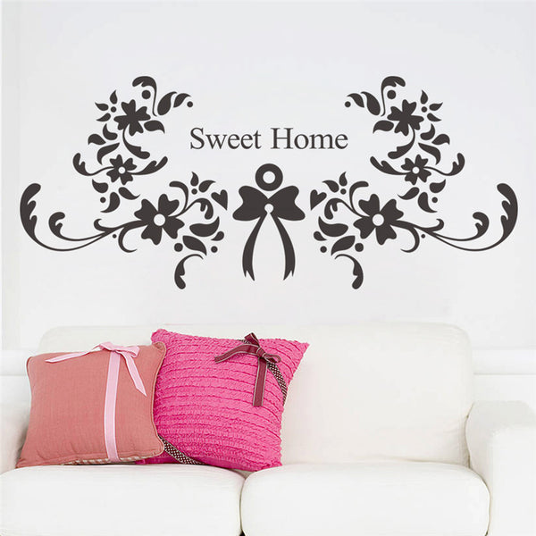 Butterfly flower vine sweet home letters wall stickers for living room bedroom home decoration decals removable vinyl art