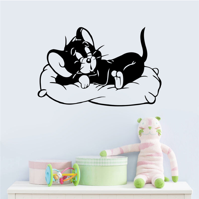 cartoon art movies tom cat sleeping wall stickers for kids room bedroom home decor vinyl removable decals black