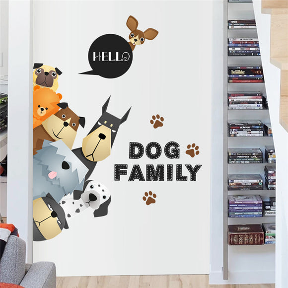 cartoon family dog door refrigerator wall stickers for kids room pet decoration home decals mural arts movie poster