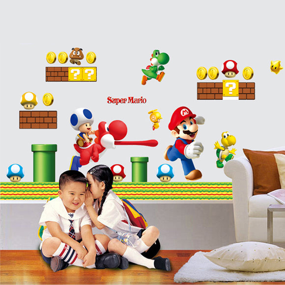 Cartoon game super Mario wall decals for bedroom nursery wall art decor pvc stickers