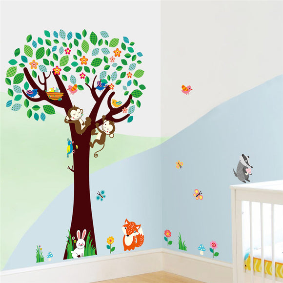 Cartoon monkey rabbit fox butterfly tree animals wall stickers for kids room home wall art