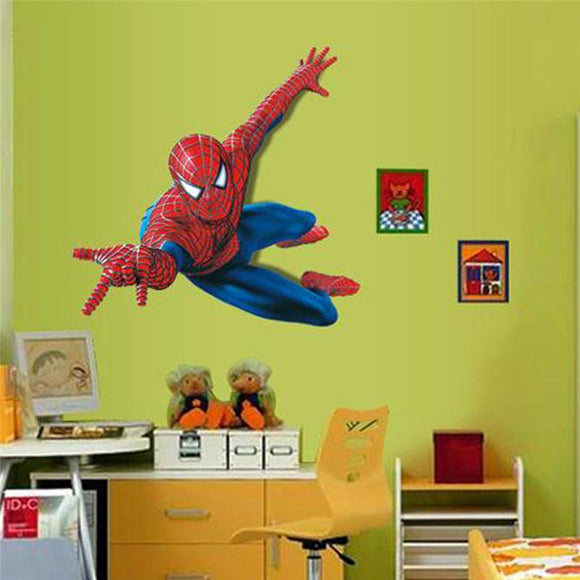 Cartoon movie super hero spiderman wall art decals for kids room home decorative pvc stickers diy posters