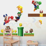 Super mario game wall sticker for kids room decorative removable pvc  wall decal