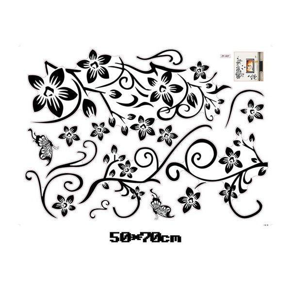 Classical black flower vine tv background wall decals decorative wall stickers