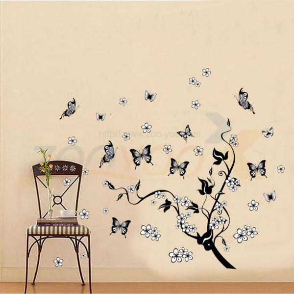 Classical black tree vine flying butterfly wall decal pvc wall sticker