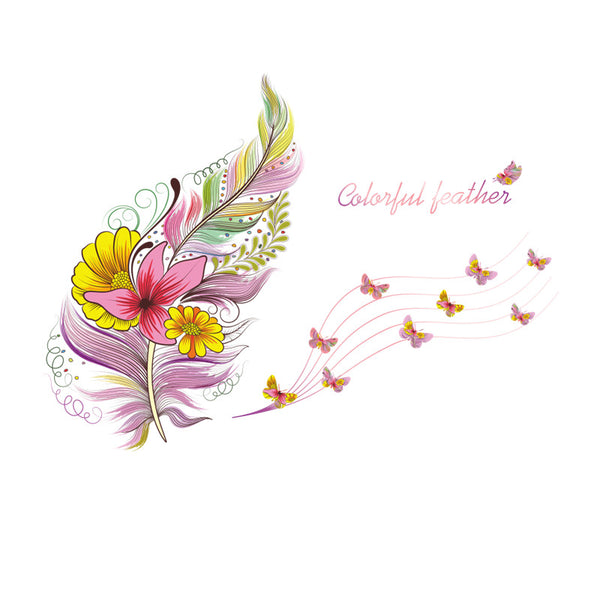 Colorful feather butterfly wall sticker decal feather home decor bedroom living room bedroom decor poster mural
