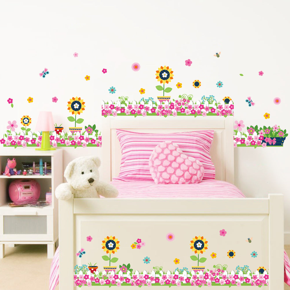 Colorful flowers butterfly bee wall stickers for kids rooms living room baseboard decoration diy plant mural art home decals
