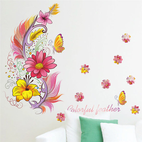 Colourful feathers flower wall stickers decals home decor wall art poster animals home decor