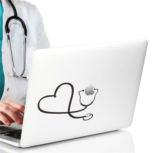 Love Heart Stethoscope computer laptop wall sticker home decor doctor hospital office decoration car decals