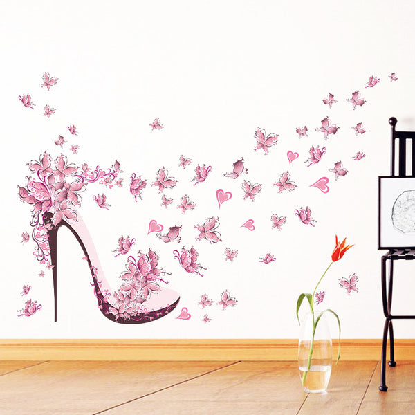 High-heeled shoes flying butterflies flowers wall art decals for living room diy pvc removeable decor stickers