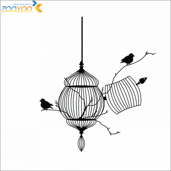 Birds cage bird stickers home decorations removable vinyl wall decals
