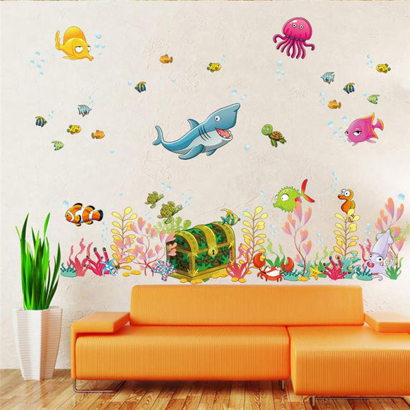 Deep sea world fish animals wall stickers room decorations cartoon mural wall decals