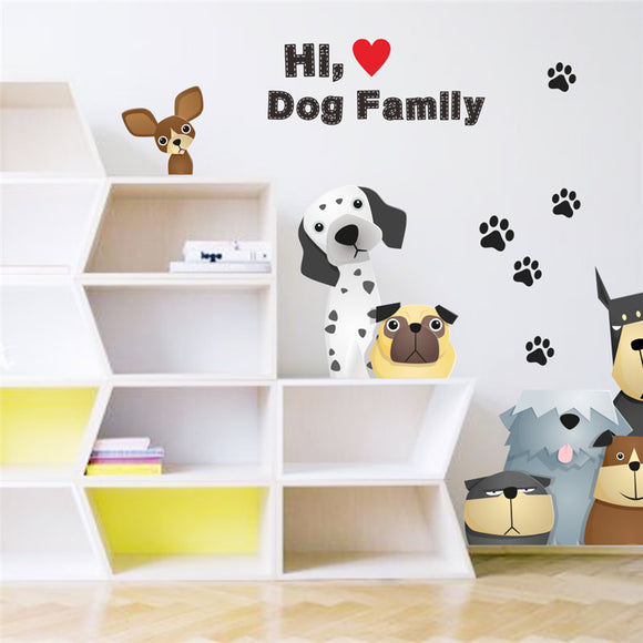 family dog paw door refrigerator wall stickers for kids room pet home decoration wall decals mural arts poster
