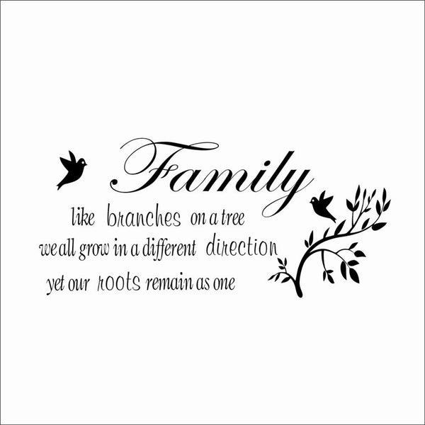 Family like branches on the tree quotes wall stickers living room indoor wall art decor diy vinyl decals decoration