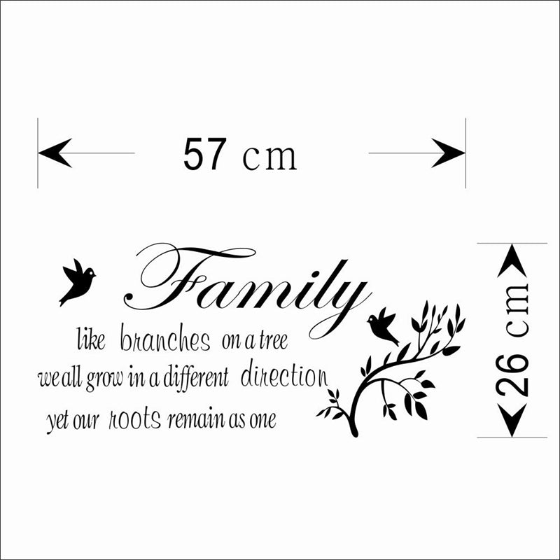 Family Like Branches On The Tree Quotes Wall Stickers Living Room