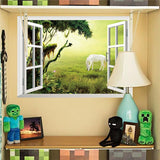 Fantastic fairytale dream windows wall stickers living bedroom decoration diy 3d horse animals cartoon home decals mural art 4.0