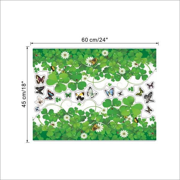 Green clover flowers butterfly wall art room decorations mural art plant home decals