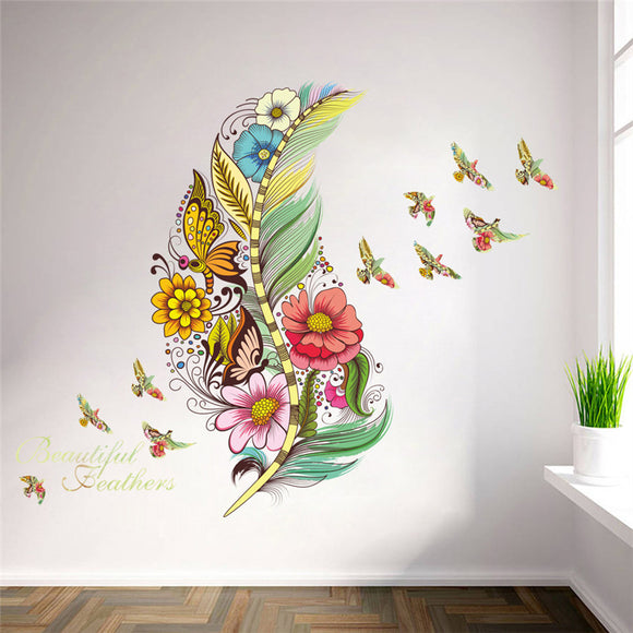 Feather birds flower wall stickers home decor mural art