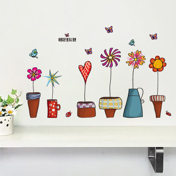 flowerpot butterfly wall cover stickers house decoration print mural art plant home decals kids gift living bed playroom