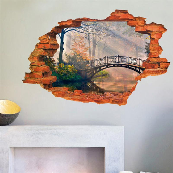 Forest tree bridge through the wall stickers room decoration home decal pvc pastoral mural art natural scenery poster 3.0