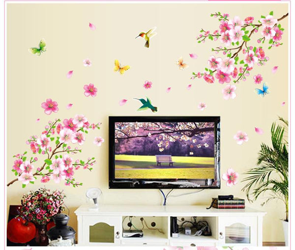 Sakura flowers wall stickers decorations home decals removable mural art print posters
