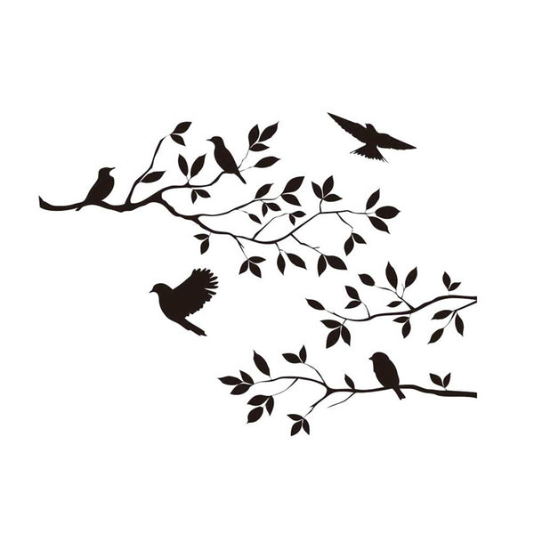 Black birds tree branch vinyl wall decals for bedroom diy home indoor wall art decor removable stickers