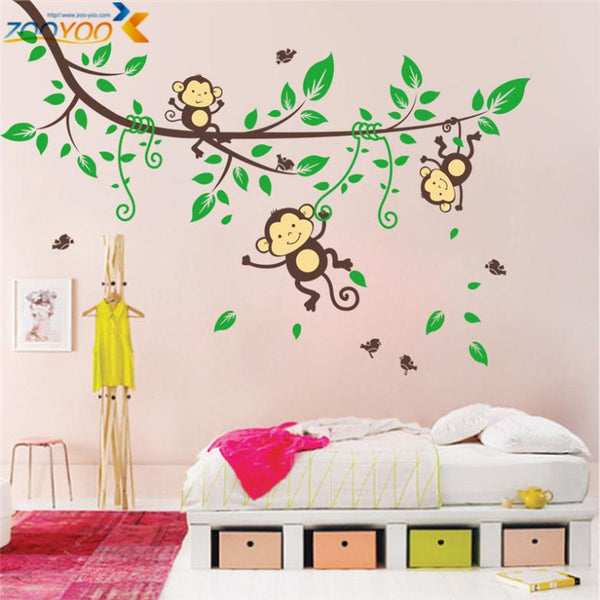 Animal wall stickers for kids room decorations monkey owl zoo cartoon decals wall art