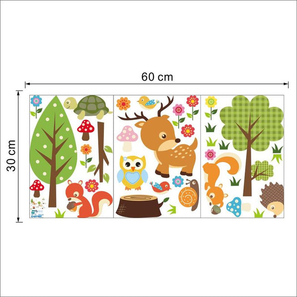 Lovely little jungle animals wall stickers decals owls tree