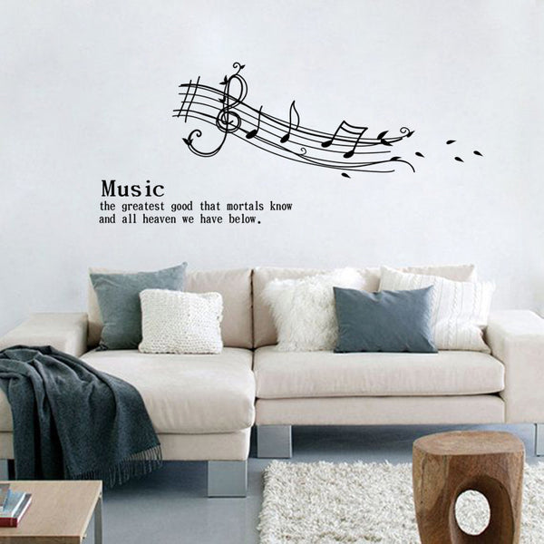 Melodious musical notation vinyl wall stickers quotes for living room diy home decor removable decals art