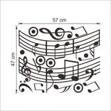 Melodious musical notation wall stickers living room diy wall art home decor decals