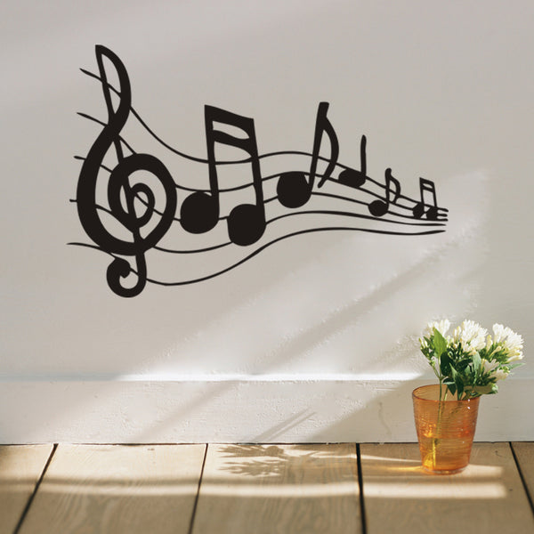 Melodious musical note home decor wall stickers for music fans room diy wall art removable decals black