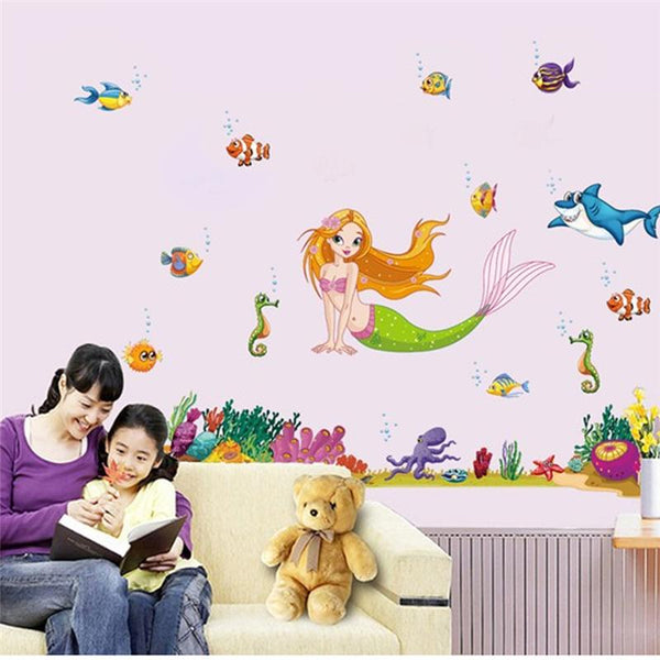 Movie mermaid fish wall stickers for kids room decor home decals animals cartoon mural art posters