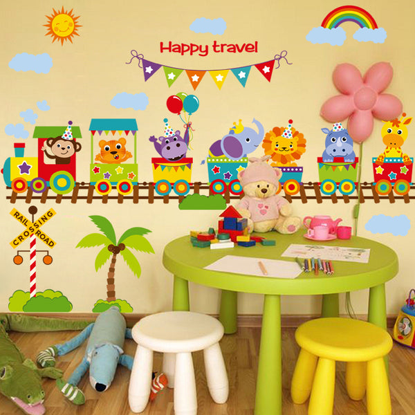 Train Happy Travel sticker on the wall Vinyl wall stickers for kids rooms
