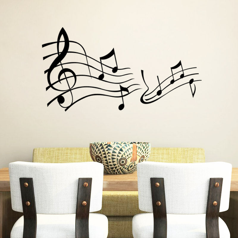 Musical notes vinyl wall decals for living room bedroom wall art decor  vinyl stickers black ... 49f6f8243