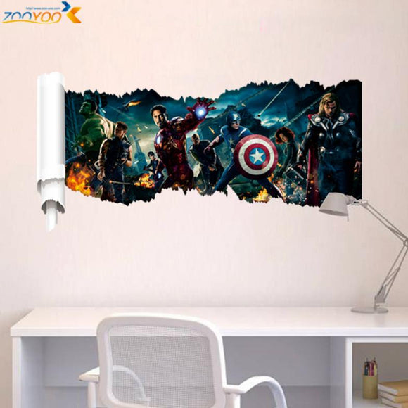 Super hero wall decals gift movie character wall stickers for kids bedroom home decoration mural art