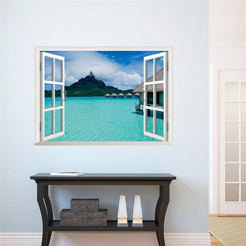 Sea mountain sky landscape 3d windows wall stickers room decorations home decals print mural cover art posters