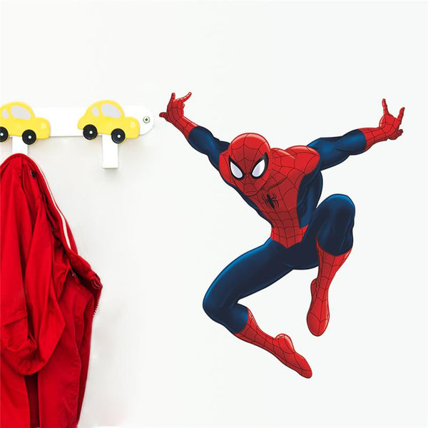 Spiderman super heros wall stickers kids room decor avengers home decals cartoon movie mural art poster