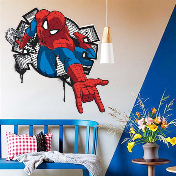 Spiderman super heros wall stickers kids room decor avengers diy home decals cartoon movie mural art poster