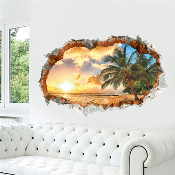 Sunset sea beach wall decals decorative stickers living bedroom home decor 3d scenery mural art landscape posters 2.5