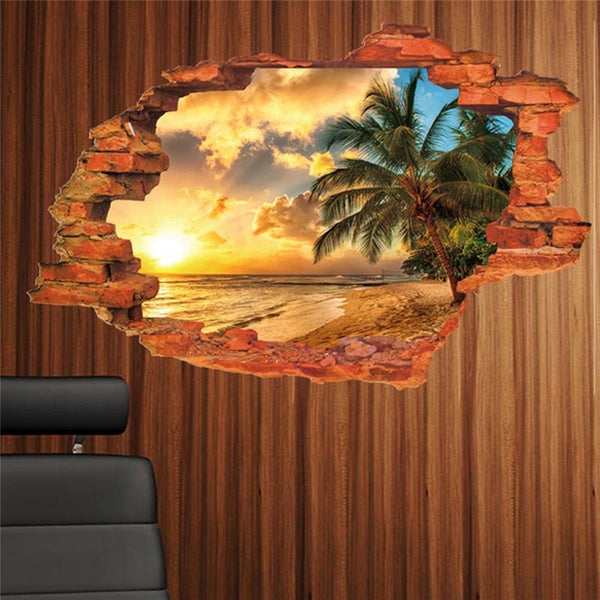 Sunset seashore coconut tree scenery through the wall stickers room decor. home decals pvc mural art mural posters