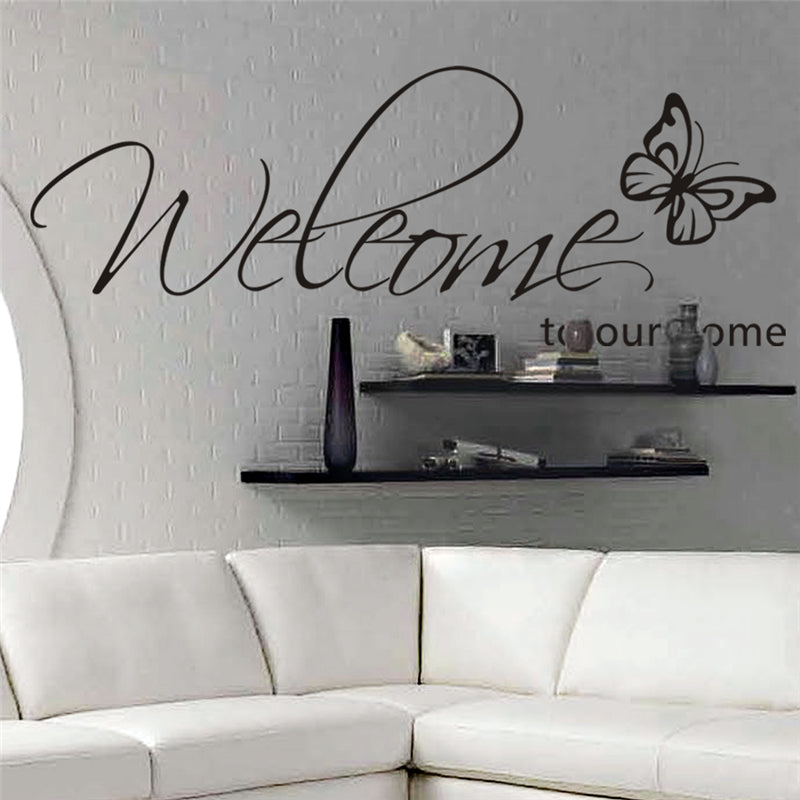 welcome to our home butterfly pattern vinyl wall stickers quotes