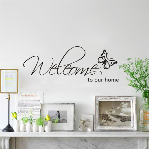 Welcome to our home butterfly pattern vinyl wall stickers quotes living room wall art decor diy black decals