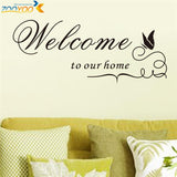 Welcome to our home quote wall decals decorative removable vinyl wall stickers