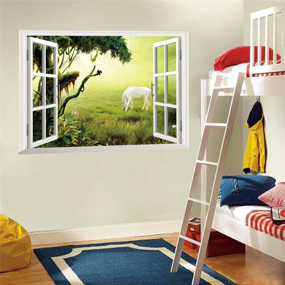 White horse tree 3d windows wall stickers room decorations animals home decals print mural cover art posters