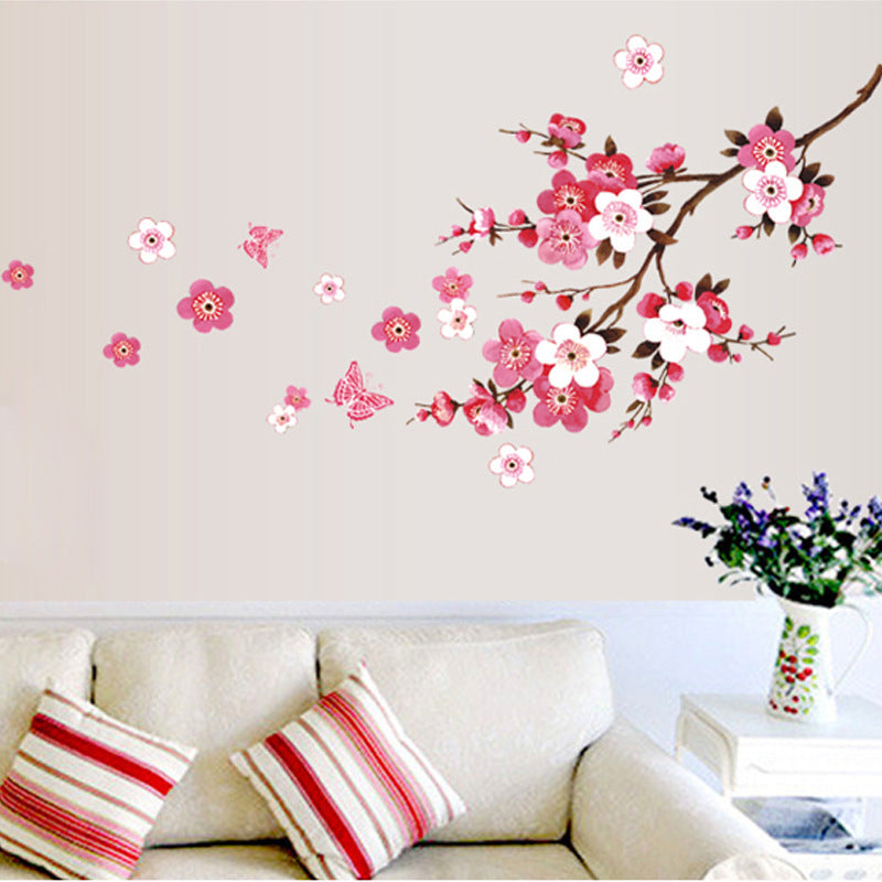 Beautiful sakura wall stickers living bedroom decorations flowers pvc home decals mural arts