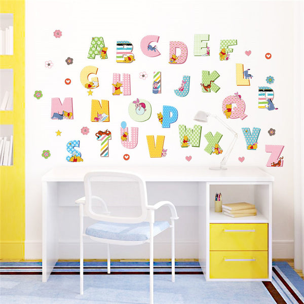 Winnie the pooh cartoon wall sticker for kids rooms alphabet children's Diy art mural wall decals baby room decoration poster