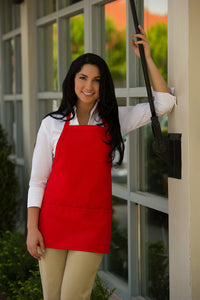 "Short Bib Apron with 3 pockets - ""Front of the House"""